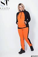 Стильный женский спортивный костюм: кофта без змейки с глубоким капюшоном, батал большие размеры