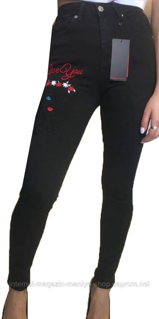 Джинсы женские 1353 американка стрейч вышивка 26-31 (деми)
