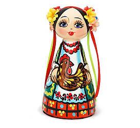Украинская сюжетная кукла пирамидка малая — Казак и Казачка 12см (дерево) 172