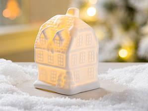 Led каганець фермерський будиночок біла кераміка d10см    1008478-2 трьох поверх