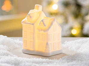 Led каганець будиночок англійська біла кераміка d10см    1008478-3 два яруси