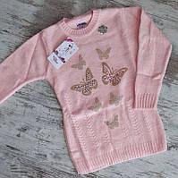 Свитер вязанный #7025 для девочки. 5-10 лет(110-140 см). Светло-розовый. Оптом.
