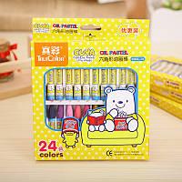 Масляная пастель, детская, шестигранная, 24 цвета, True Color