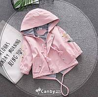 Парка для девочек с цветочками розовая 2766