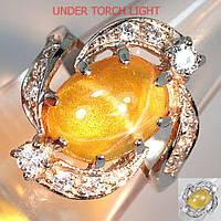 """Изящный перстень """"Завиток"""" с желтым звездчатым кварцем и белыми сапфирами , размер 17 студия LadyStyle.Biz, фото 1"""