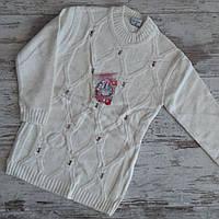 Свитер вязанный #1769 для девочки. 9-12 лет (134-152 см). Молочный. Оптом.