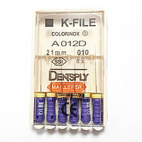 K-File 21мм, уп.6шт, №010, Dentsply Maillefer