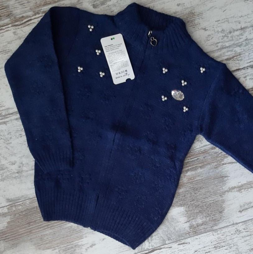 Кофта вязанная на змейке #953 для девочки. 10-13 лет (140-158 см). Синяя. Оптом.