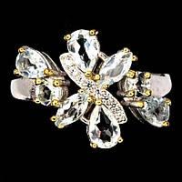 Серебряное кольцо с аквамарином и белыми цирконами , размер 17,3 от студии LadyStyle.Biz, фото 1