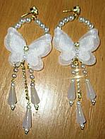Длинные серьги- гвоздики с бабочкой и жемчугом от студии LadyStyle.Biz, фото 1