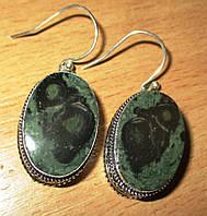 Серебряные серьги  с  крокодиловой яшмой камамба   от студии LadyStyle.Biz, фото 1