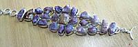 Шикарный браслет- манжет  с  рубеллитами- розовым турмалином и яшмой от студии  www.LadyStyle.Biz, фото 1