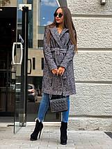 Класичне твідове пальто сірого кольору з поясом 42-44 р, фото 2
