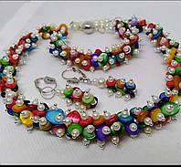 Колье, браслет, серьги с цветным  перламутром, фото 1