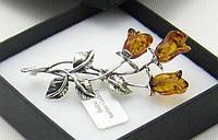 """Серебряная брошка со светлым янтарем """"3 розы""""  от студии LadyStyle.Biz, фото 1"""