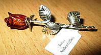 Серебряная брошь - роза из янтаря   от студии LadyStyle.Biz, фото 1