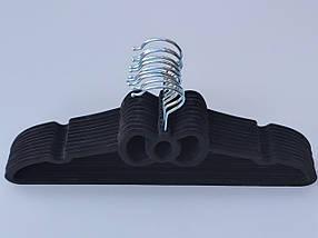 Плічка флоковані (оксамитові, велюрові) чорного кольору, довжина 39,5 см, в упаковці 10 штук, фото 3