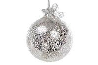 """Елочный шар 8см серебро с покрытием """"лёд"""", с декором из бусин и жемчуга, стекло, в упаковке 6шт. (118-488)"""