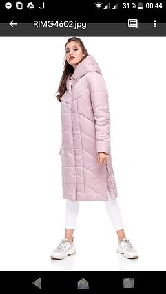 Женское модное пальто пуховик зимний ниже колена 42-54 большие размеры, фото 2