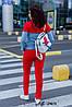 Женский спортивный прогулочный костюм: кофта на змейке и штаны без манжета, батал большие размеры, фото 3