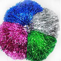 Помпоны блестящие для черлидинга (по 12 пар одного цвета), красный, синий, фото 1