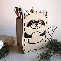 Детская деревянная подставка под канцелярию с милым дизайном