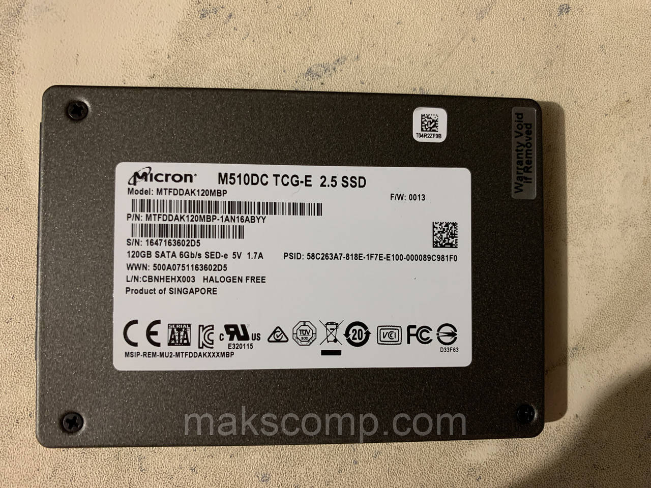 "SSD Micron M510DC 128Gb 2.5"" SATAIII (MTFDDAK120MBP)"