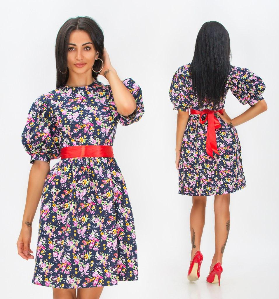 Платье в цветах рукава фонарики