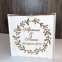 Свадебная деревянная коробка для денег