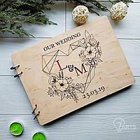 Стильный дизайнерский свадебный альбом в деревянной обложке