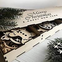 Новогодний набор елочных игрушек из дерева в красивой коробке