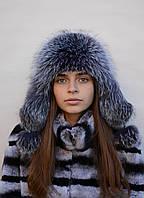 Модная женская меховая шапка Ушанка из чернобурки, фото 1