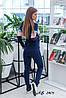 Женский спортивный прогулочный костюм: кофта на змейке с капюшоном и штаны без манжета, фото 3