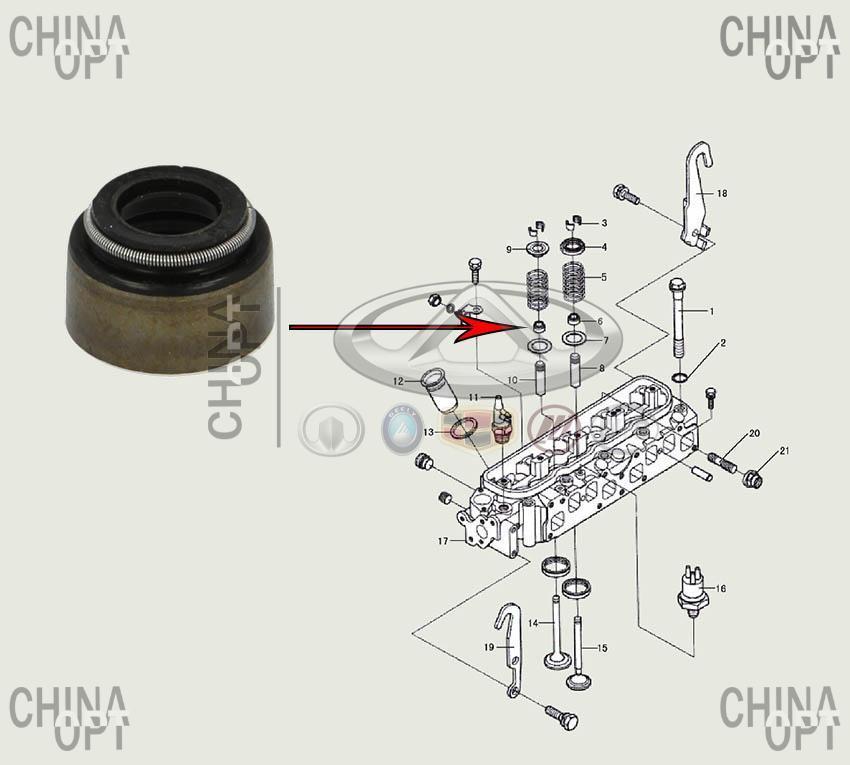 Сальник клапана, 491Q, Great Wall Safe [F1], 1007040-E00, AJUSA