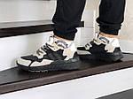 Чоловічі кросівки Adidas Nite Jogger Boost (бежево-чорні), фото 4