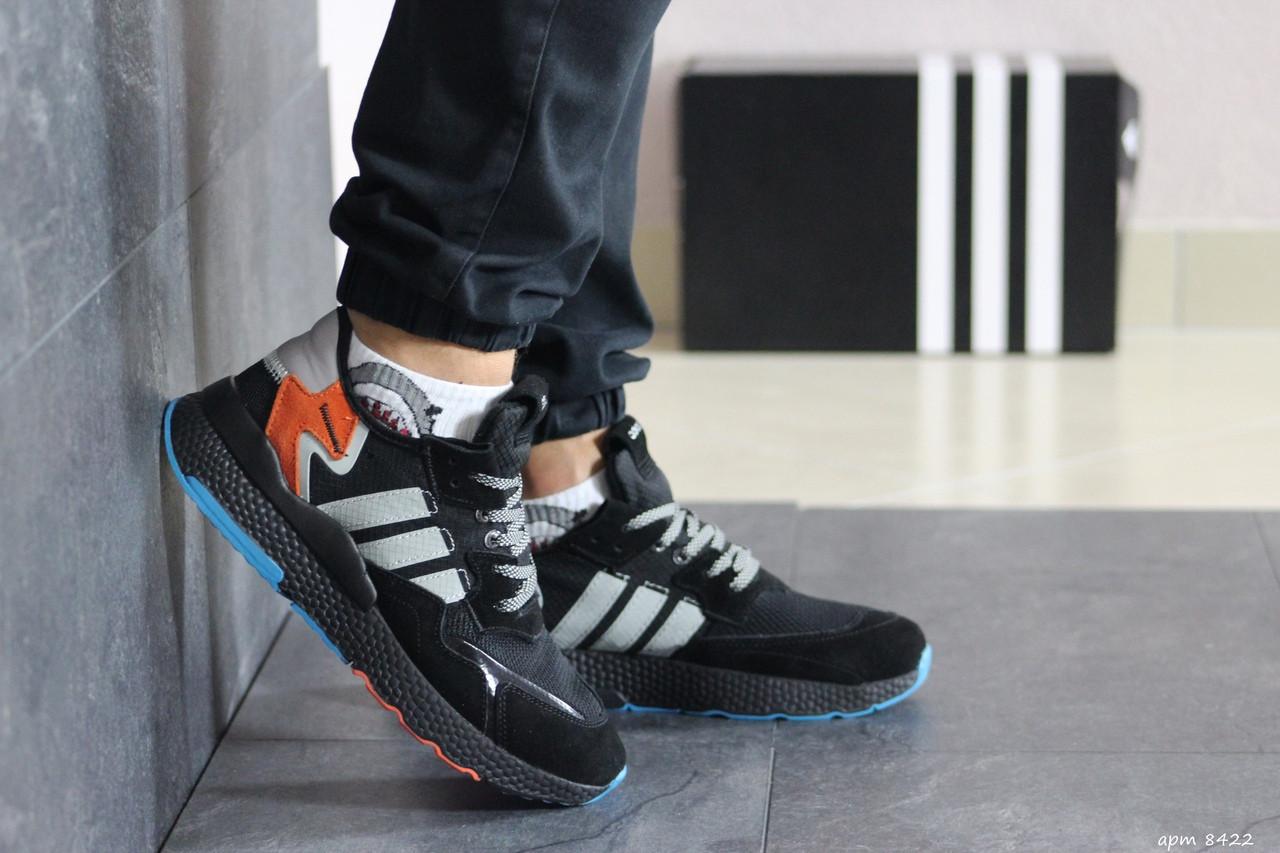 Мужские кроссовки Adidas Nite Jogger Boost (черно-серые)