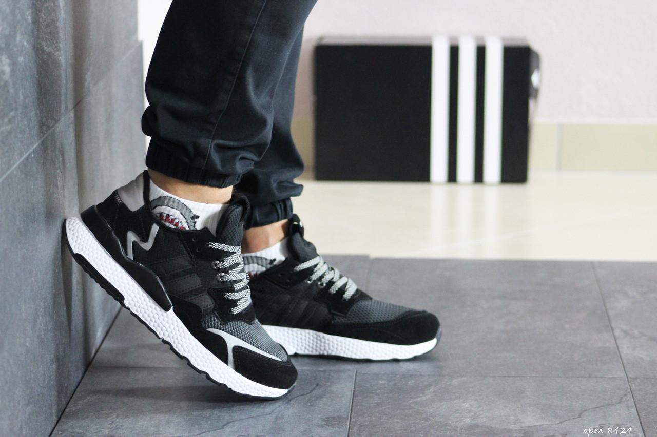 Чоловічі кросівки Adidas Nite Jogger Boost (чорно-білі)