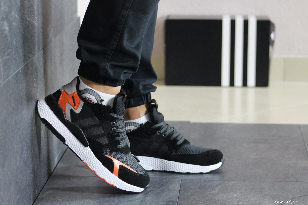 Мужские кроссовки Adidas Nite Jogger Boost (черно-белые)