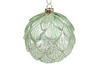 Елочный шар 10см рельефной формы с декором, цвет - травяной зеленый, стекло, в упаковке 4 шт. (118-821)