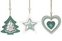 Подвесной деревянный декор, 3 вида, 11см, цвет - белый с зеленым, дерево, в упаковке 48шт. (738-122)