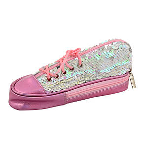 Пенал мягкий YES TP-24  ''Sneakers with sequins'' pink                                    , фото 2