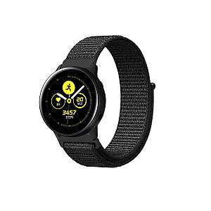Ремешок BeWatch нейлоновый липучка для Samsung Galaxy Watch Active Черный (1011301.2)