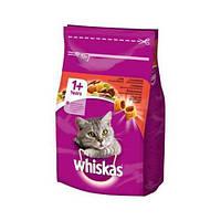 Whiskas 1+ сухой корм с говядиной для взрослых кошек, 300 г