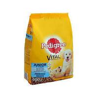 Pedigree Junior с курицей и рисом сухой корм для щенков, молодых собак, щенных и лактирующих собак средних пород, 500 г