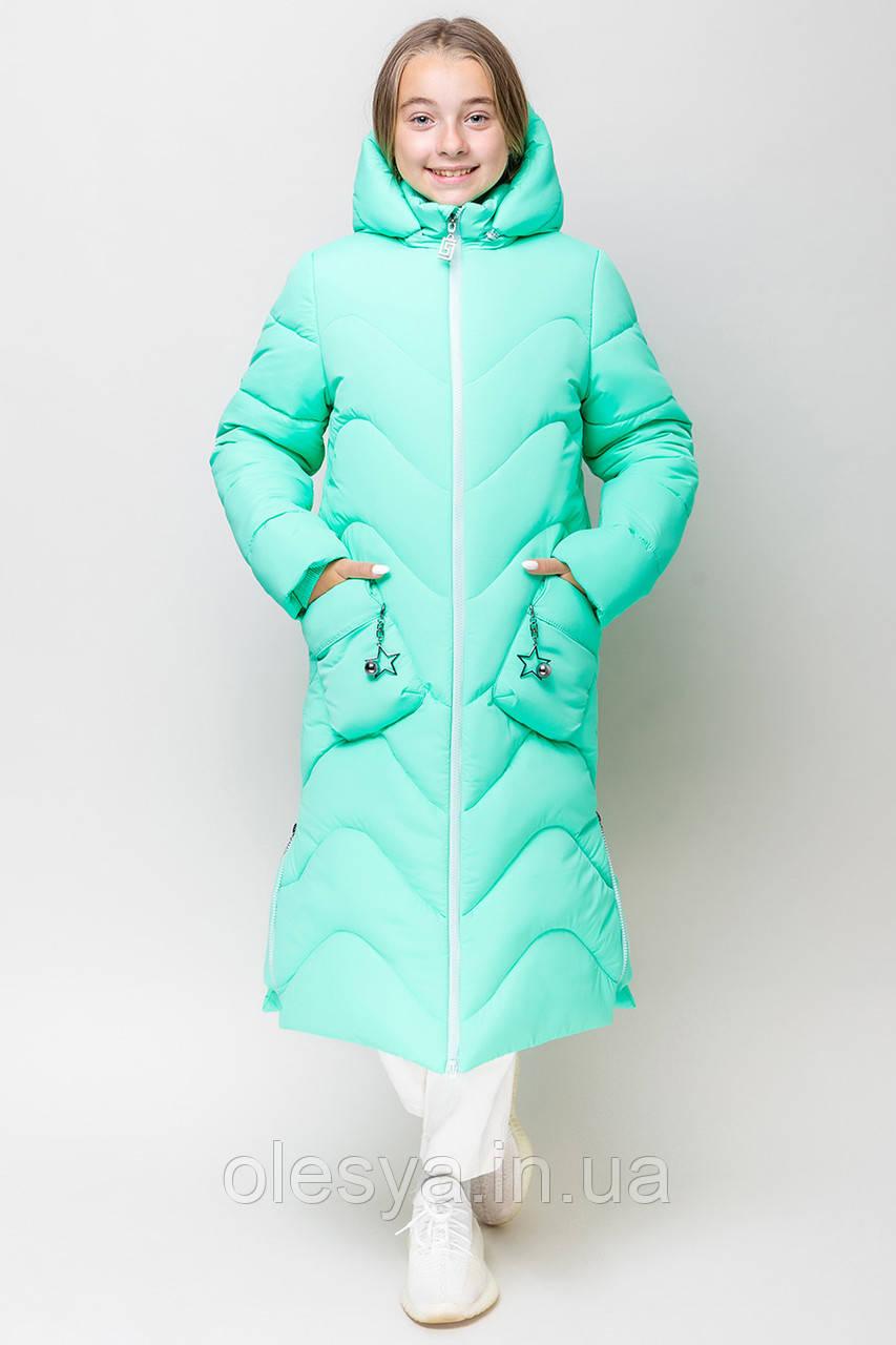 Теплое длинное зимнее пальто для девочки  Размер 158 Новинка 2019
