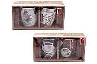 Набор кружек (2шт) фарфоровых 350мл Retro Coffee с коричневыми ложками, 2 вида BonaDi 334-410