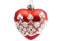 Елочное украшение в форме сердца с декором Кружево BonaDi SA0-542