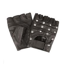 Перчатки  Mil-Tec кожаные без пальцев байкерские с заклепками