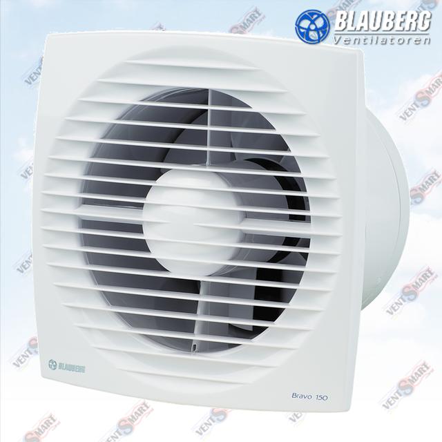 Внешний вид бытового вытяжного хромированного вентилятора (с тонкой передней панелью) для настенного или потолочного монтажа БЛАУБЕРГ Браво Хром 150.