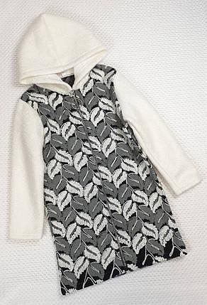 Пальто на змейке для девочки  с капюшоном 122-140 серый + молочный, фото 2
